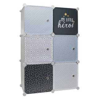 Rangement armoire modulable 6 cubes garçon