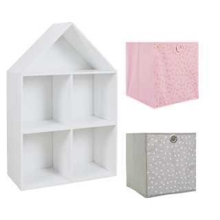 Meuble Maison + 2 cubes de rangement fille