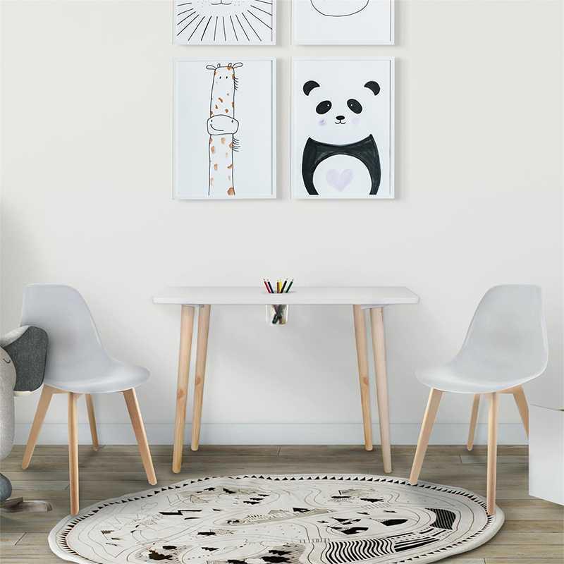 Table avec pot crayons + 2 chaises enfant Gris