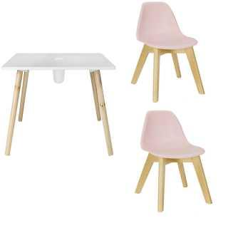 Table avec pot crayons + 2 chaises enfant Rose