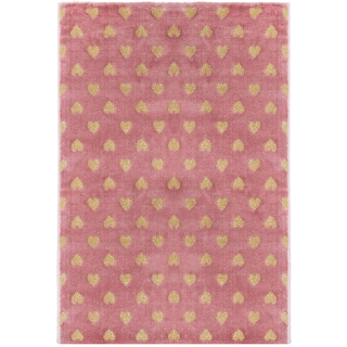 Tapis enfant coeur lurex Rose Atmosphera
