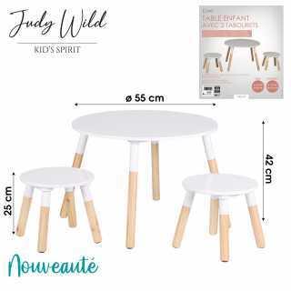 Table enfant avec 2 tabourets Blanc Judy Wild