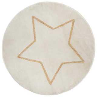 Tapis rond étoile lurex Beige D 78 Atmosphera