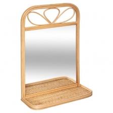 Miroir étagère tresse Beige Atmosphera
