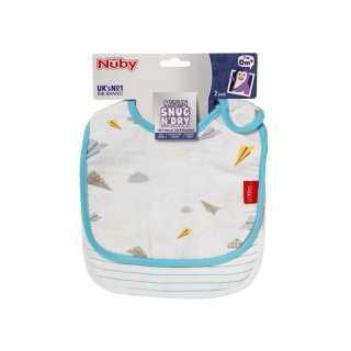 Lot de 2 bavoirs bébé en mousseline Bleu Nuby