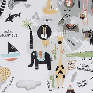 Sticker Murale Mappemonde Gris Home Deco Kids