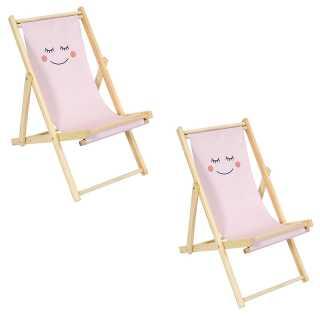 Lot de 2 chaises Pliantes Enfant Rose Home Deco Kids