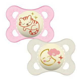 Sucette bébé Nuit 0-6m Rose Mam Lot de 2