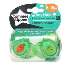 Lots de 2 Sucettes Classique 6-18m Tommee Tippee - Carotte/Pomme