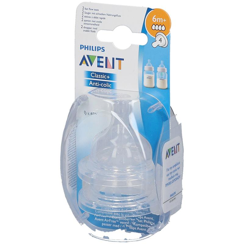 Philips Avent Tétines Classic 6m+  Débit rapide Lot de 2