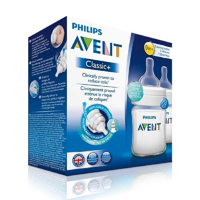 Philips Avent Lot de 2 Biberons Classic Transparents 125 ml