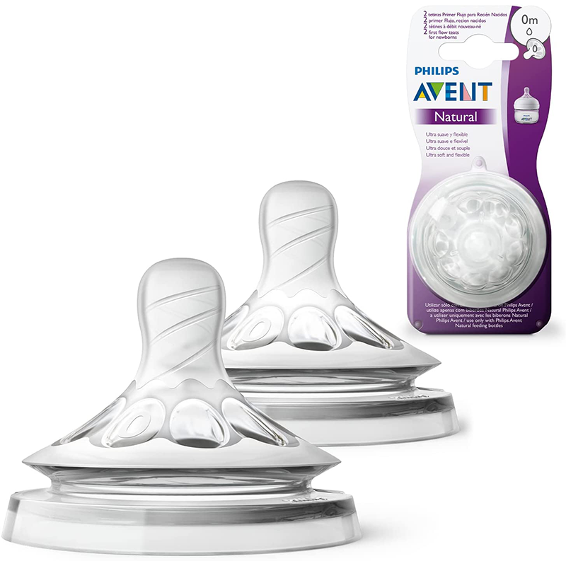 Philips Avent Tétines Natural 0m+  Débit nouveau né Lot de 2