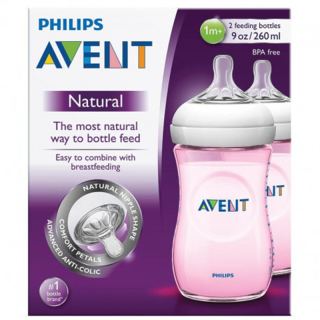 Philips Avent Lot de 2 Biberons Natural 260 ml Rose