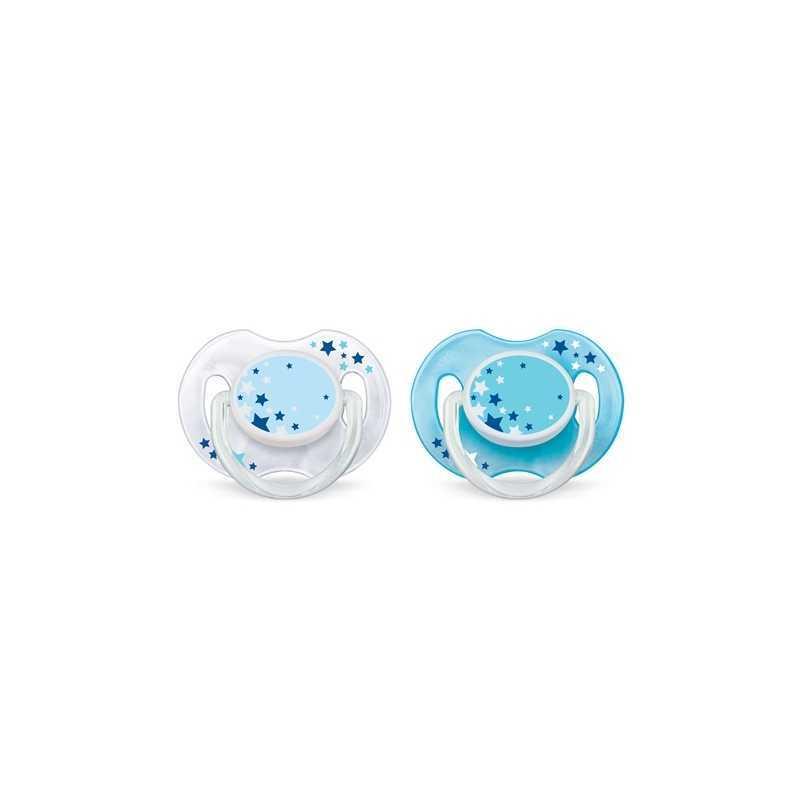 Philips Avent Lot de 2 sucettes nuit 0-6 mois - Turquoise