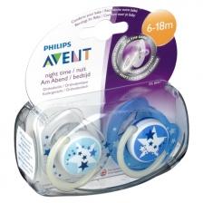 Philips Avent Lot de 2 sucettes nuit 6-18 mois - Bleu