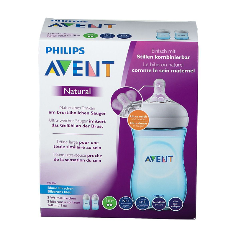 Philips Avent Lot de 2 Biberons Natural 260 ml Bleu
