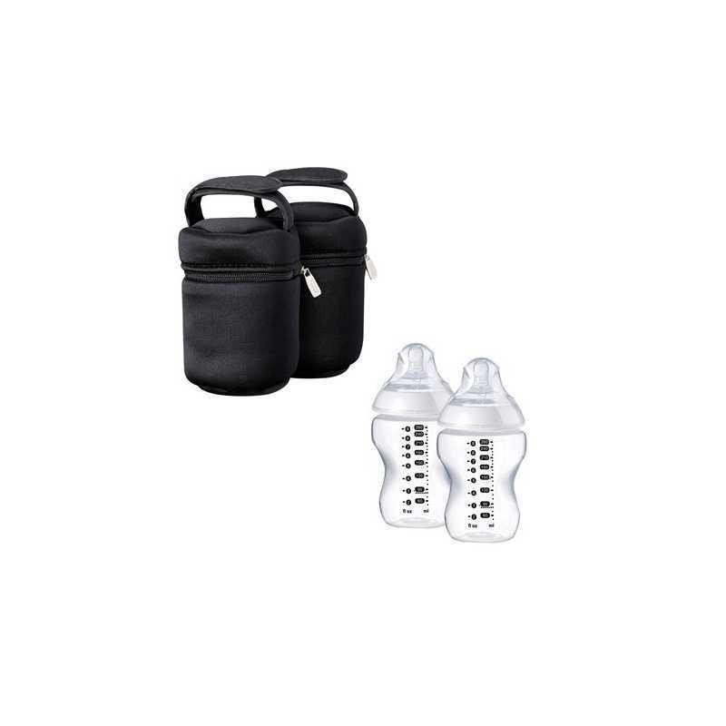 Tommee Tippee Kit de 2 Sacs Isothermes + 2 Biberons 260ml Plastique