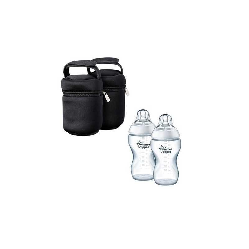 Tommee Tippee Kit de 2 Sacs Isothermes + 2 Biberons 340ml Plastique