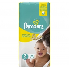 Pampers - Premium Protection - Couches Taille 3 (5-9 Kg) - Pack Géant - Lot de 100 couches