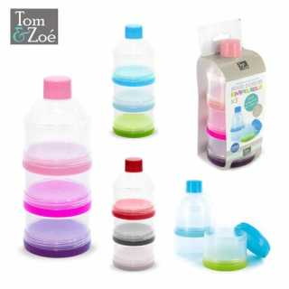 Tom & Zoé Lot de 3 Boites Doseuses de Lait Empilable Gris