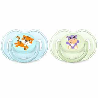 Sucettes Classic Tigre / Hippopotame x2 Philips Avent 0-6 m
