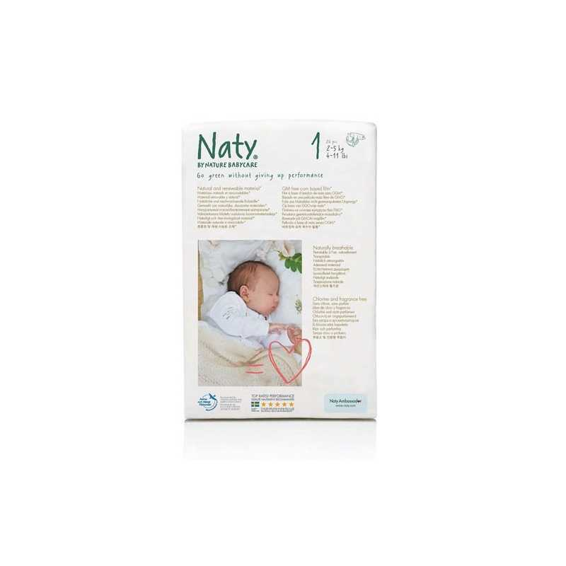 Couches Écologiques Naty 2-5kg Lot de 104  Taille 1