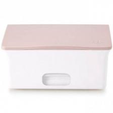 Boîte à lingettes bébé Ubbi blanc et rose