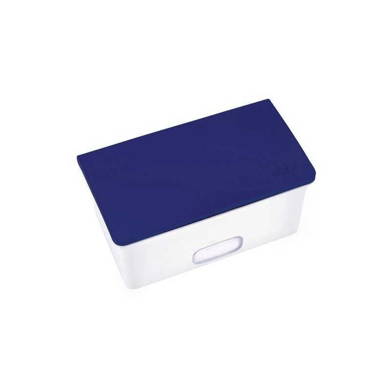 Boîte à lingettes Ubbi blanc et bleu marine