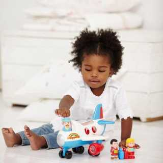 Jouet avion enfant avec figurines Happyland Fly and Go Jumbo