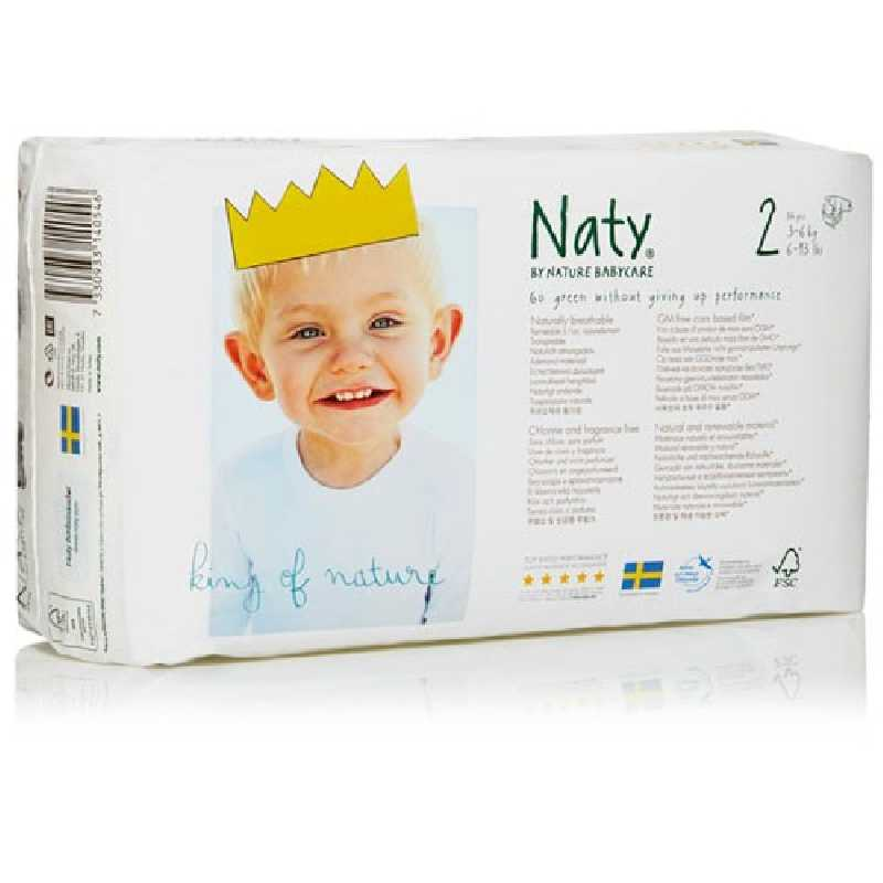 Naty -Couches Écologiques Taille 2 Mini (3-6 kg)Pack 1 Mois (x136 couches)