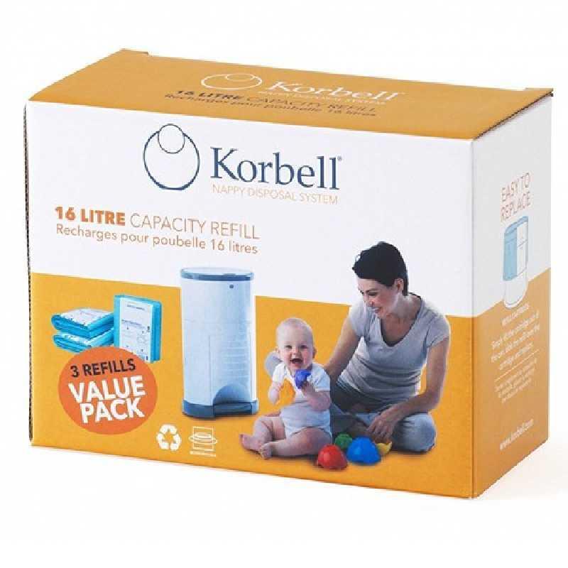 Recharges biodégradables poubelle STANDARD Korbell 16L X3