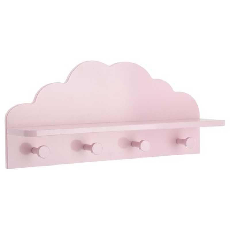 Patère / etagère 2 en 1 nuage 4 accroches Atmosphera Rose