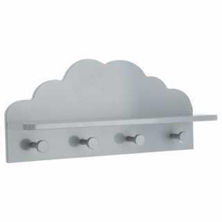 Patère / etagère 2 en 1 nuage 4 accroches Atmosphera Gris