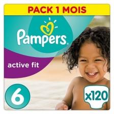 Pampers - Active Fit - Couches Taille 6 (+15 kg/XL) - Pack économique 1 mois de consommation (x120 couches)
