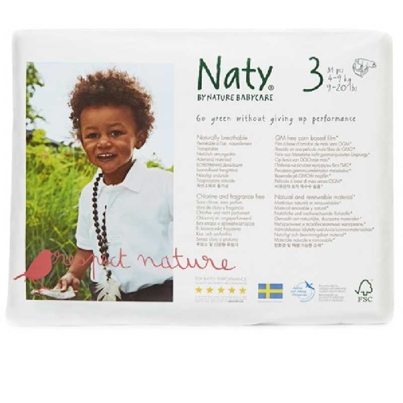 Naty - Couches Écologiques Taille 3 Midi (4-9 kg)Pack 1 Mois (x124 couches)