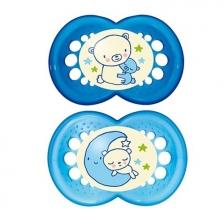 Sucette bébé nuit phosphorescente Mam 6 mois+ Bleu Lot de 2