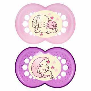 Sucette bébé nuit phosphorescente Mam 6 mois+ Rose Lot de 2