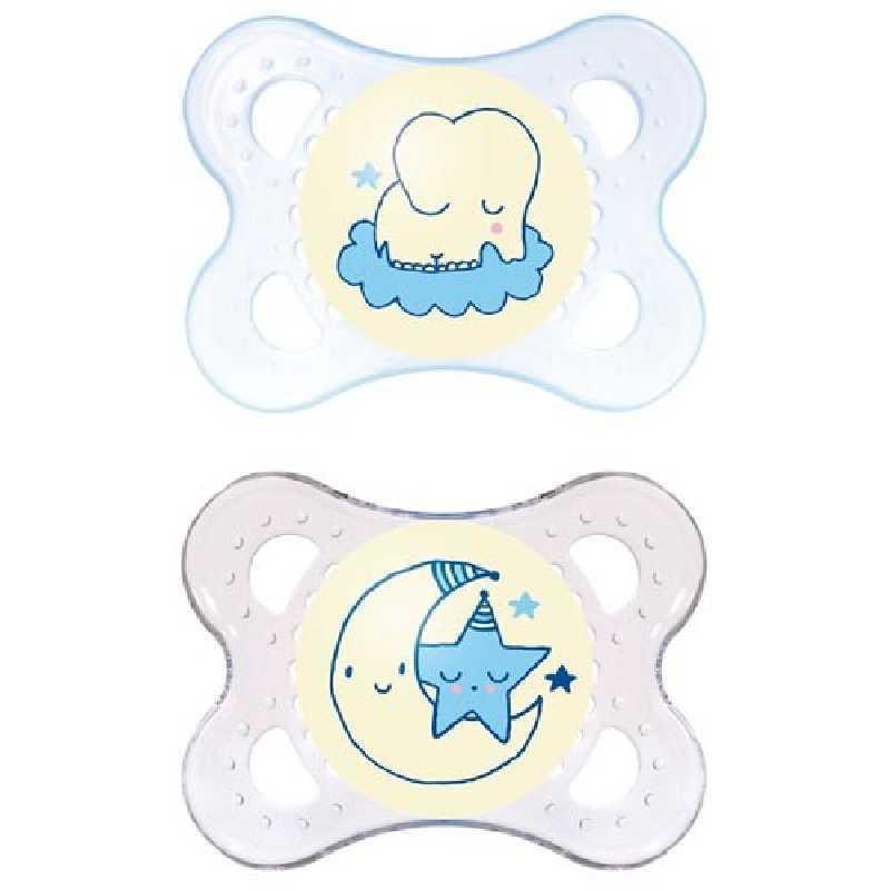 Sucette bébé Nuit 0-6m Bleu Mam Lot de 2