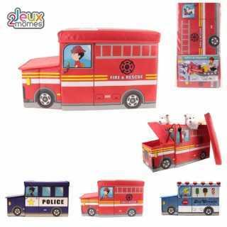 Coffre à jouets Camion de Police Bleu Foncé