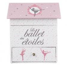 Boîte à bijoux musicale Ballerine Atmosphera Rose Gris