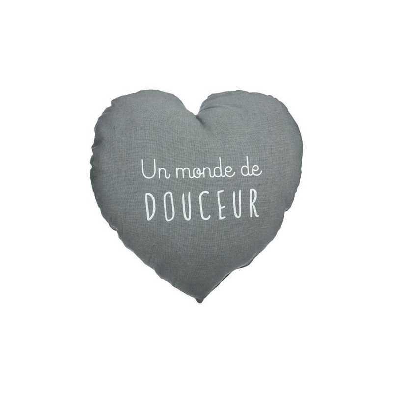Coussin décoratif Coeur Douce Atmosphera for kids Gris