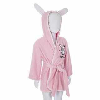 Peignoir de bain enfant à capuche coton Lapin Rose 3-6 ans