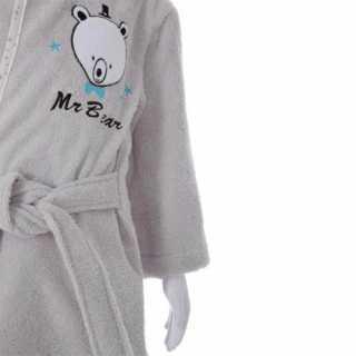 Peignoir de bain enfant à capuche coton Ourson Gris 3-6 ans