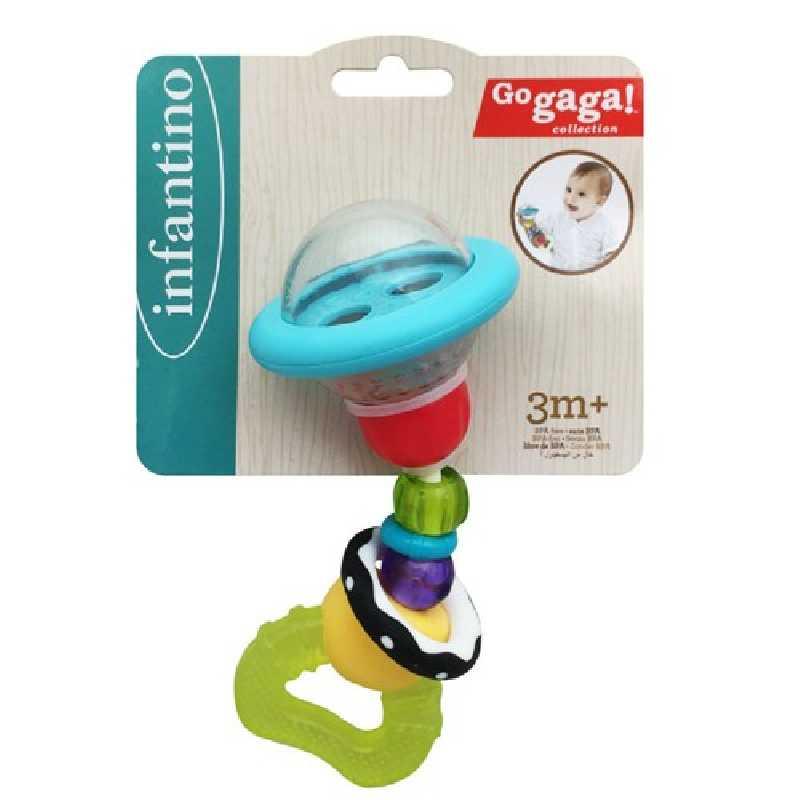 Hochet Anneau Dentition 2 en 1 multicolore Infantino Go Gaga