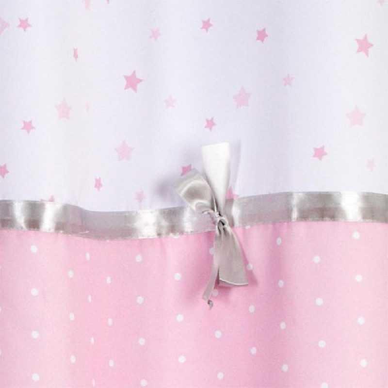 Rideau satiné princesse avec noeud brodé 140 x 260 cm Rose