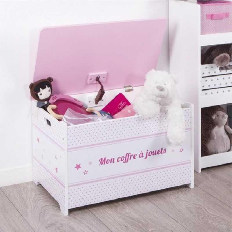 Coffre à jouets rose en bois Atmosphera