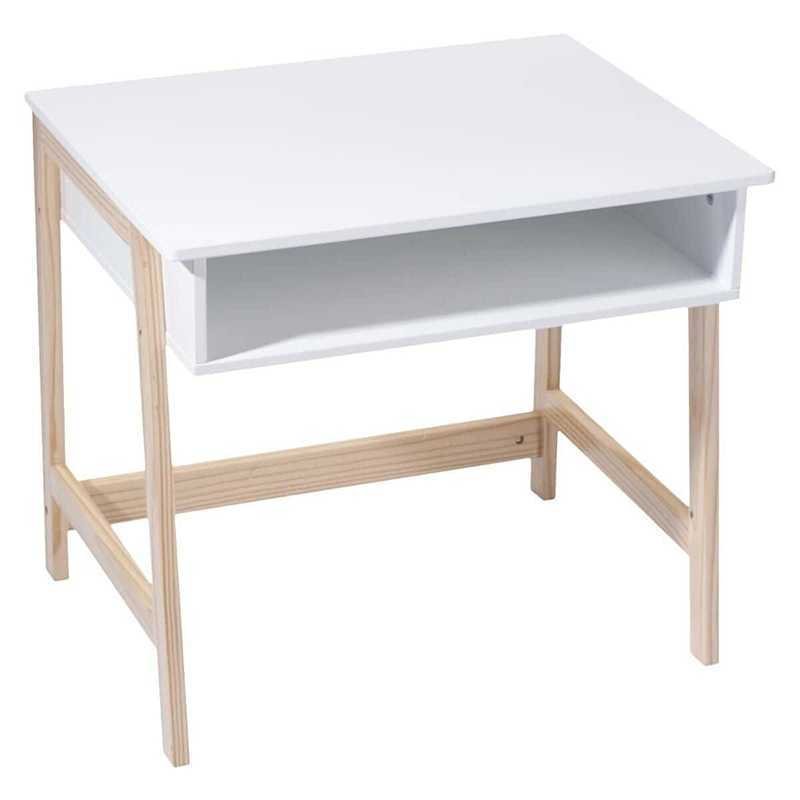 Bureau en bois pour enfants scandinave Blanc