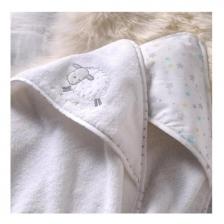 Cape de bain bébé à capuche brodée mouton Lot 2 Silvercloud