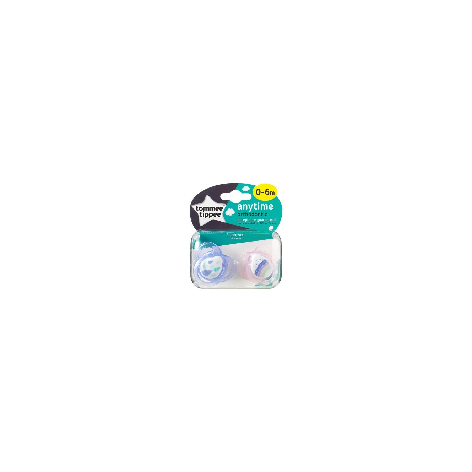 Sucettes classiques Any Time 0-6 mois Violet / Rose Tommee Tippee