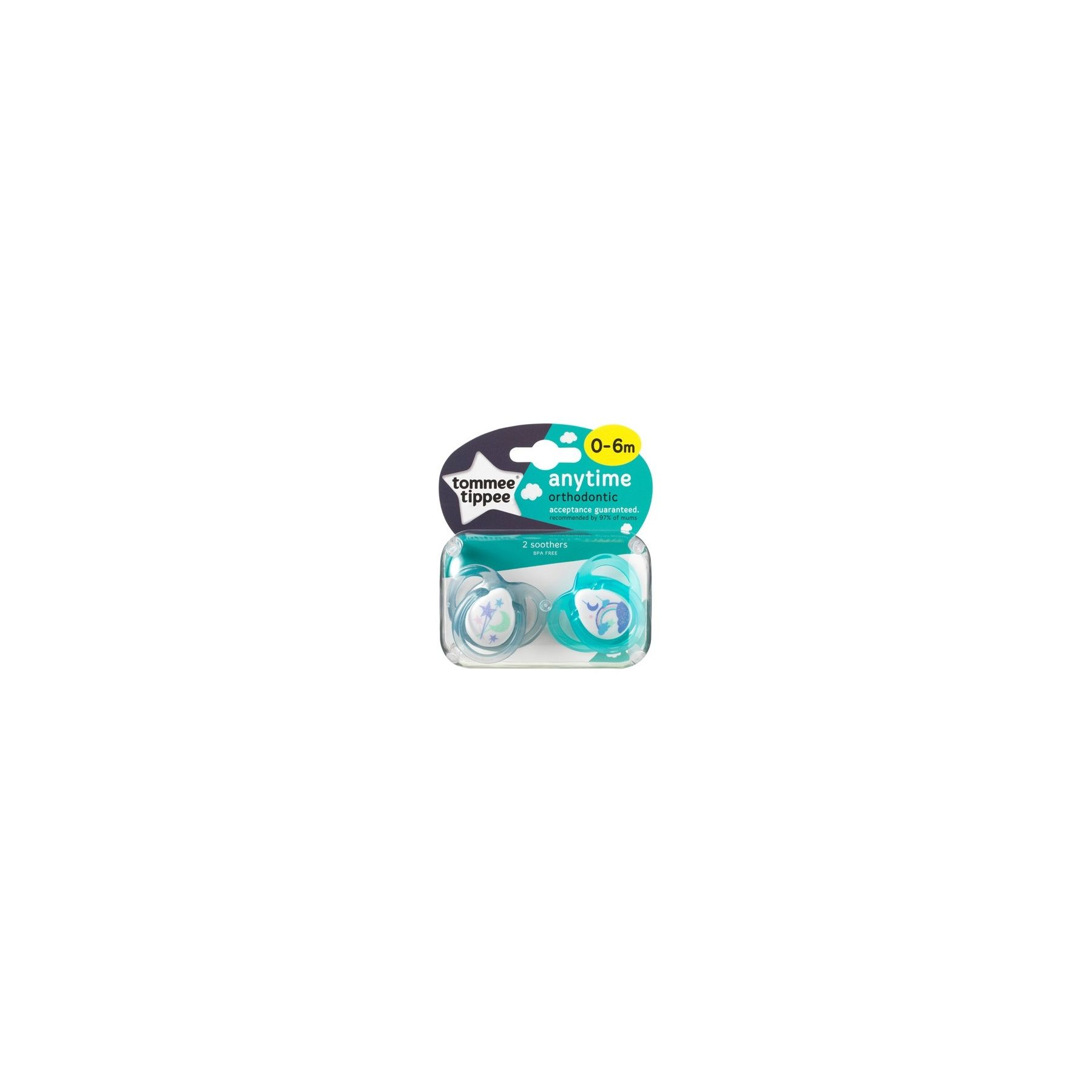 Sucettes classiques Any Time 0-6 mois Gris / Vert Tommee Tippee